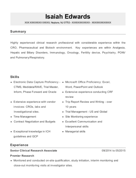 best clinical research associate resumes
