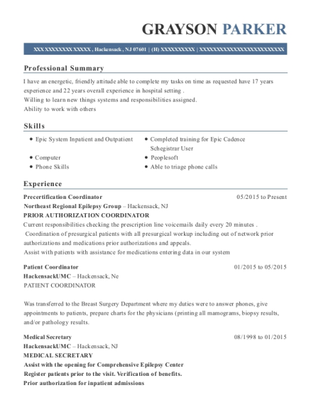 Best Precertification Coordinator Resumes   ResumeHelp