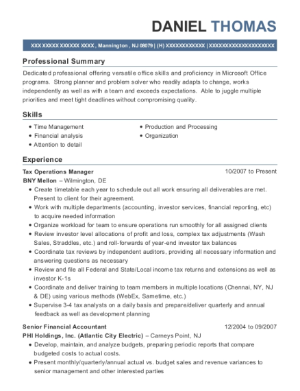 View Resume Tax Operations Manager