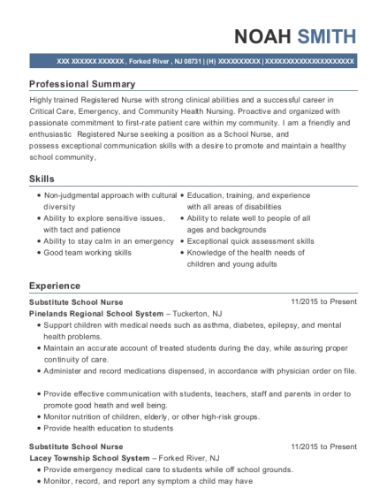 Noah Smith  School Nurse Resume