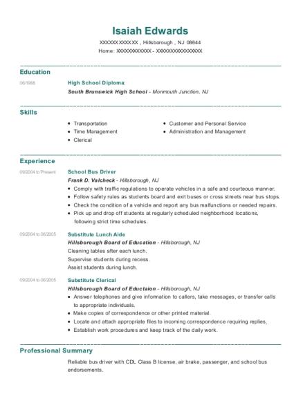 View Resume. School Bus Driver