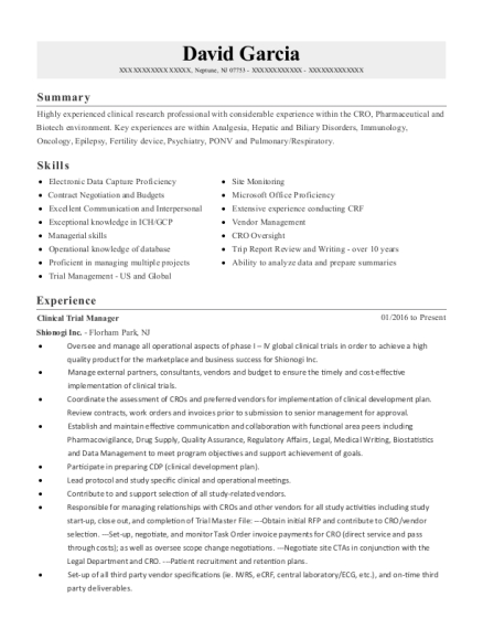 Best Clinical Trial Manager Ii Resumes | ResumeHelp