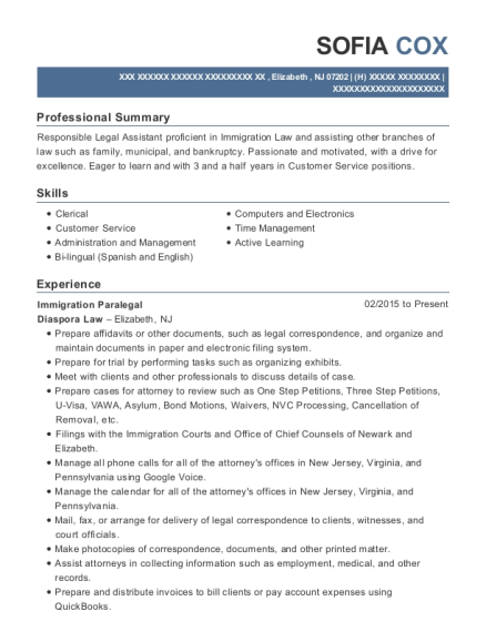 View Resume Immigration Paralegal