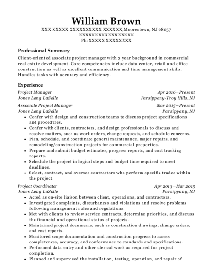 William Brown  Associate Project Manager Resume