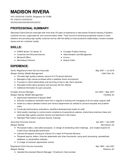 best registered client service associate resumes resumehelp