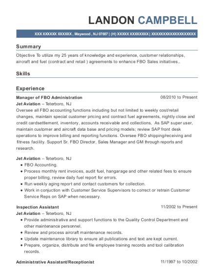 Jet Aviation Manager Of Fbo Administration Resume Sample - Maywood ...