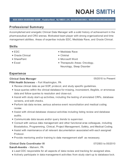 Pra health sciences clinical data manager resume sample view resume maxwellsz