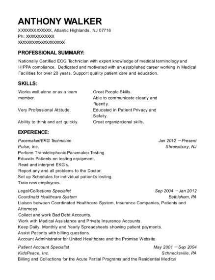ekg technician resume