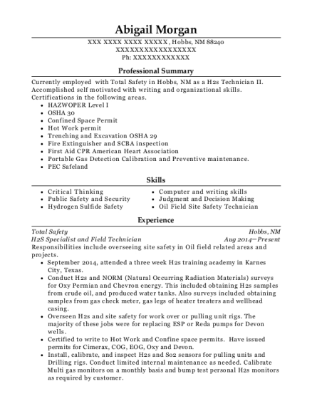 View Resume. H2S Specialist And Field Technician  Field Technician Resume