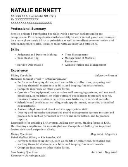 purchasing resumes