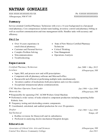 Best certified pharmacy technician resumes in new mexico resumehelp view resume malvernweather Choice Image
