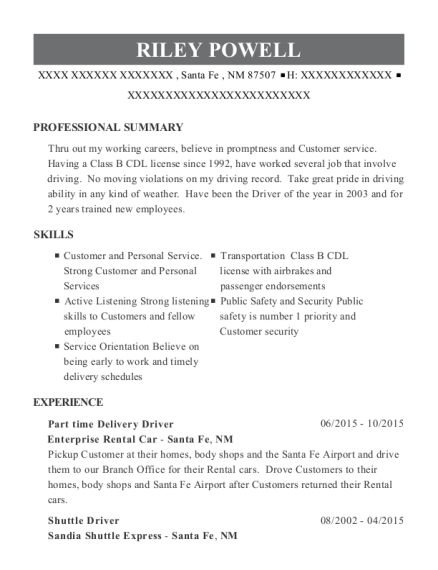 pizza hut part time delivery driver resume sample
