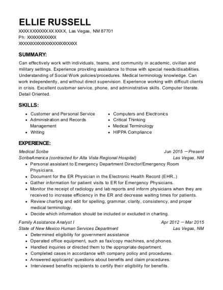 ellie russell - Medical Scribe Resume