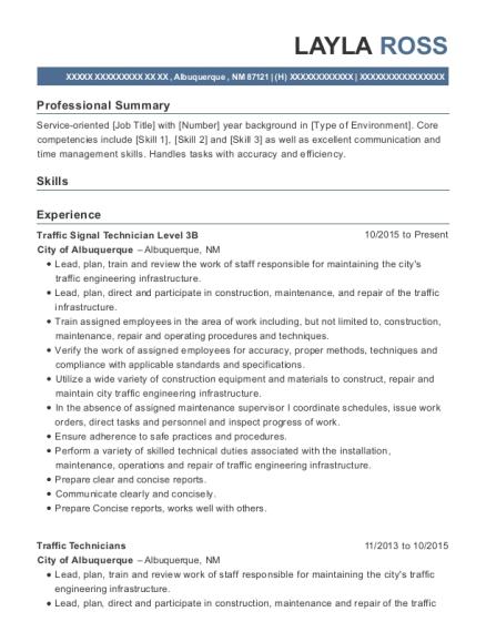 Best Traffic Signal Technician Level 3b Resumes | ResumeHelp