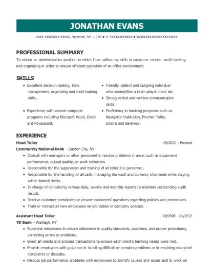 View Resume Head Teller
