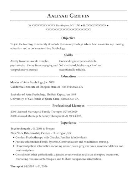 View Resume. Psychotherapist
