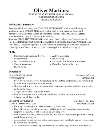Best Cashier Supervisor Resumes | ResumeHelp