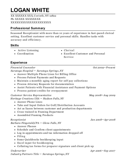 View Resume Financial Counselor
