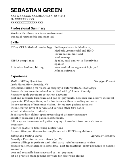 view resume medical billing specialist - Billing Specialist Resume