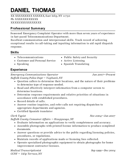 daniel thomas - Typist Resume