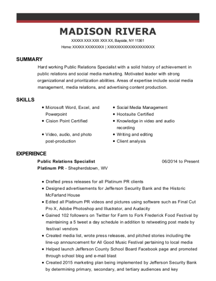 Public Relations Specialist Intern Customize Resume View