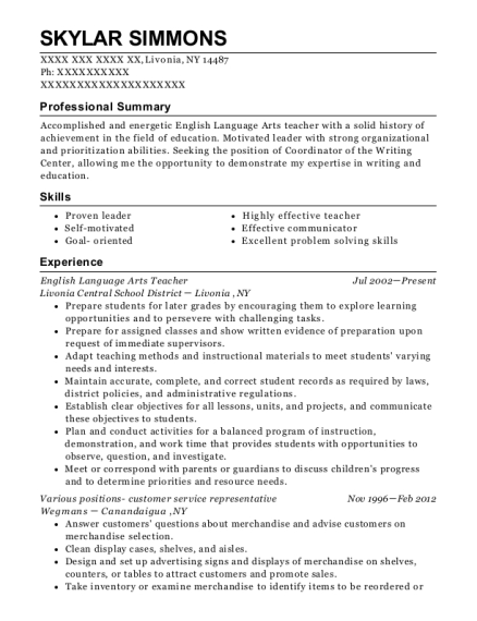 Best English Language Arts Teacher Resumes   ResumeHelp