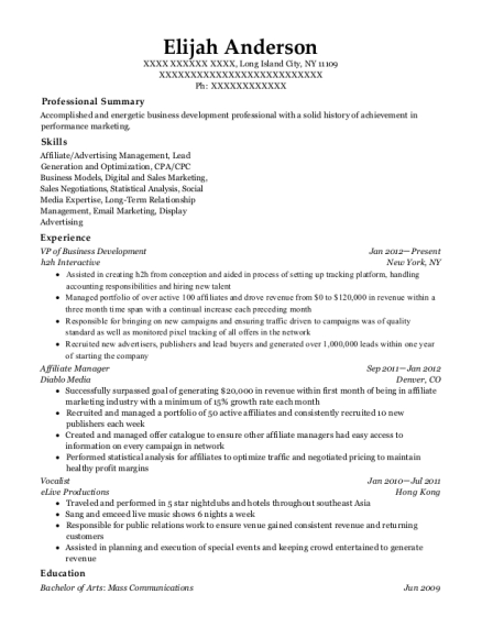 elijah anderson - Affiliate Manager Resume