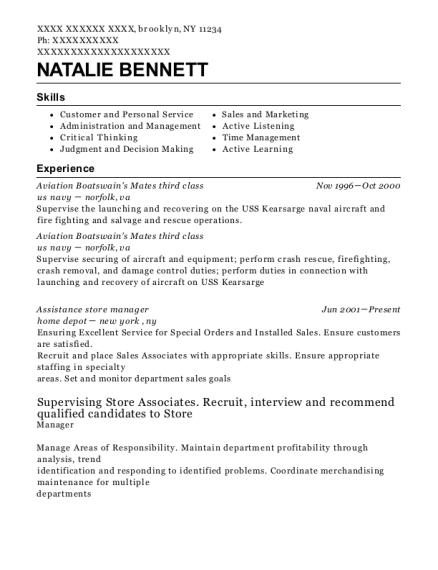 United States Navy Boatswain Mate Resume Sample Virginia
