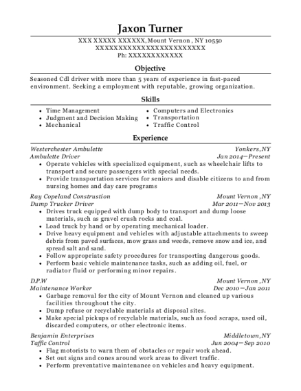 People Also Search For. Customize Resume · View Resume. Ambulette Driver