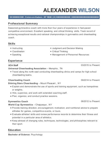 view resume - Gymnastics Coach Resume