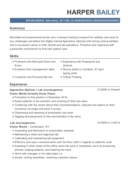 View Resume Apprentice Optician