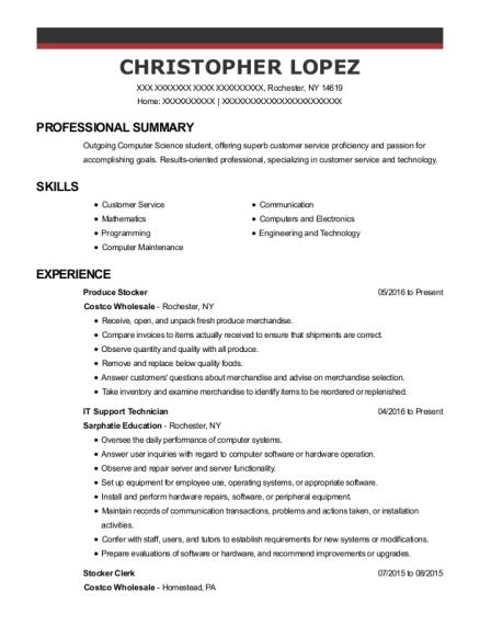 costco wholesale produce stocker resume sample rochester new york