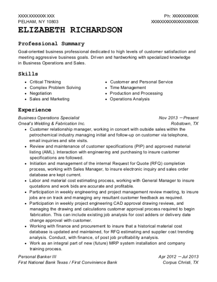 View Resume. Business Operations Specialist