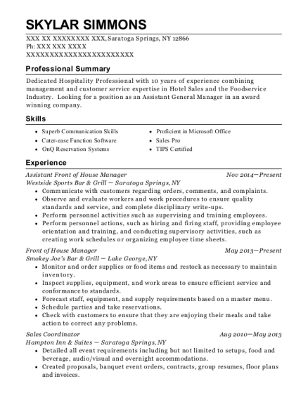 View Resume Assistant Front Of House Manager