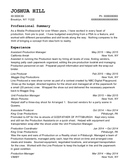joshua hill - Production Manager Resume Samples