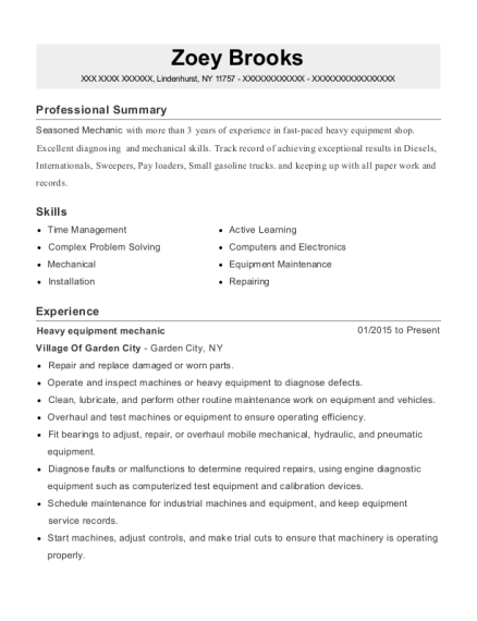 Pap Machinery Heavy Equipment Mechanic Resume Sample
