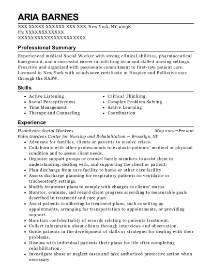 professional summary for social worker