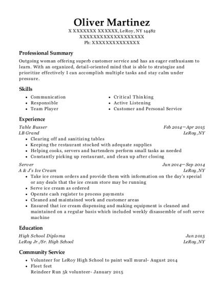 best table busser resumes resumehelp
