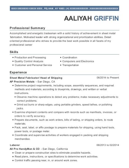 ap precision metals sheet metal fabricator resume sample pelham
