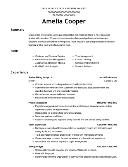 View Resume. Senior Billing Analyst II
