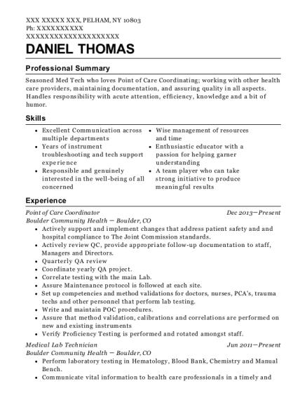 Care Coordinator Resume | Boulder Community Health Point Of Care Coordinator Resume Sample