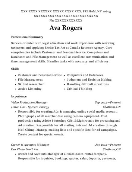 Union Gas Spectra Energy Video Production Manager Resume Sample ...