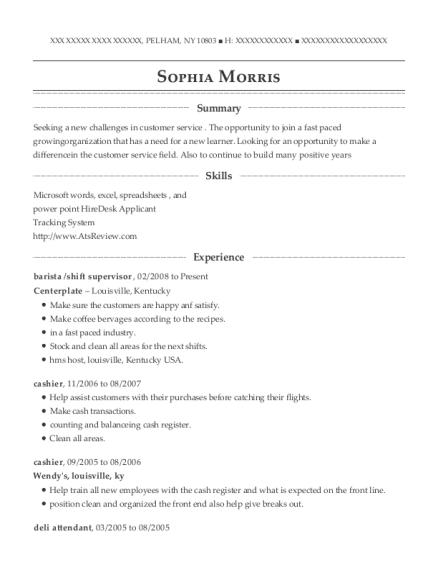 View Resume. Barista /shift Supervisor