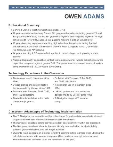 owen adams - Math Tutor Resume