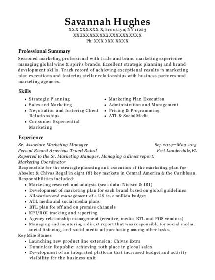Pernod Ricard Americas Travel Retail Sr Associate Marketing Manager ...
