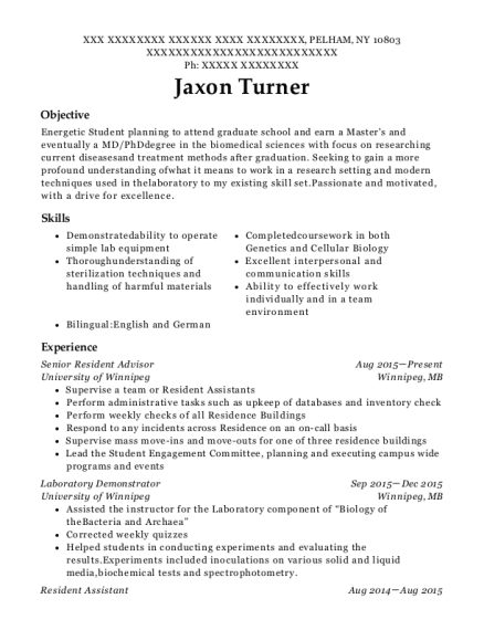 View Resume. Senior Resident Advisor