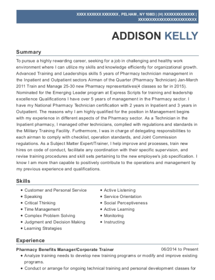 First Script Pharmacy Benefits Manager Resume Sample - Tucson ...
