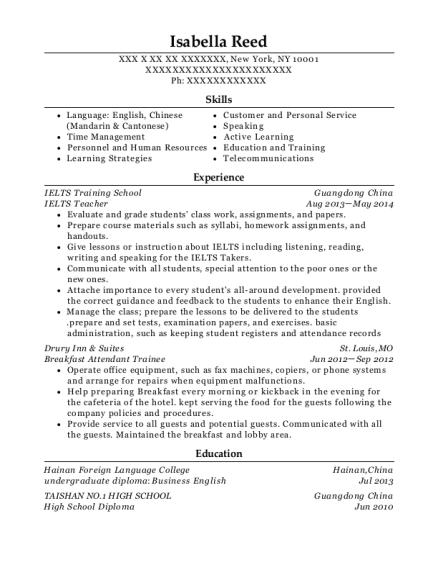 chinese teacher resume