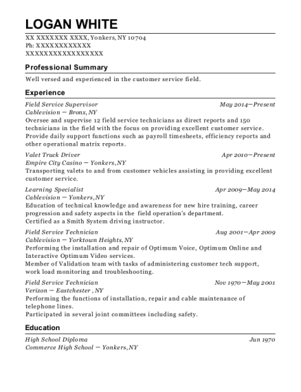 wildcat wireline field service supervisor resume sample
