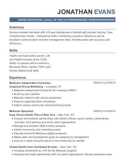 view resume medicare independent contractor